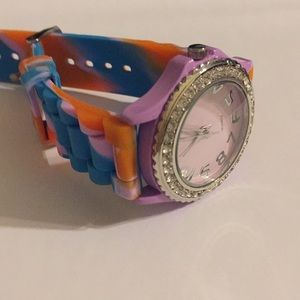 Accessories - Watch, multi colored band, crystals around face